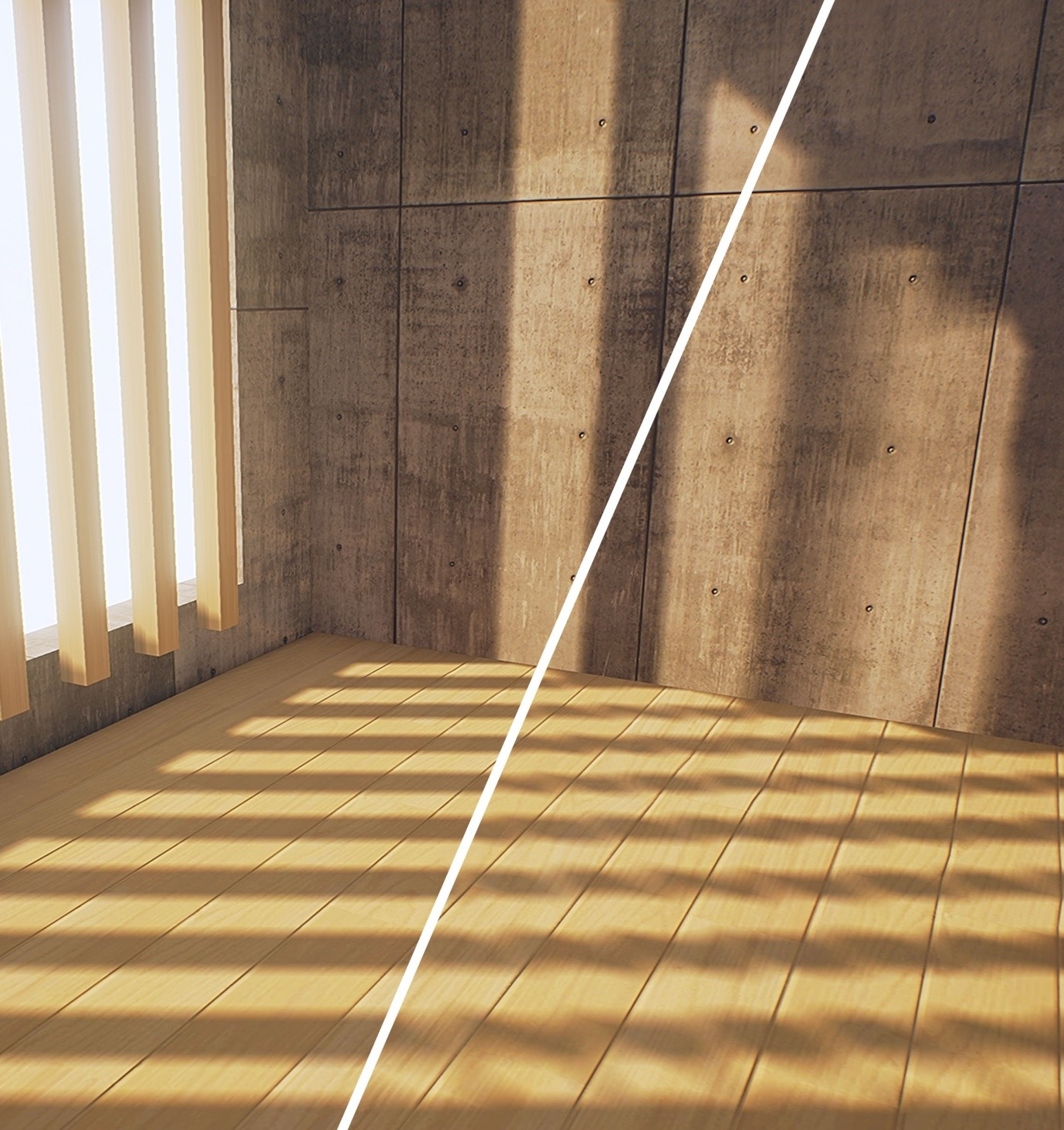 Figure 2: Notice how the quality of the shadows cast by the wooden sun blinds in this architectural visualization is insufficient for the default quality settings. Doubling the resolution of the baked textures resolves the quality issues.