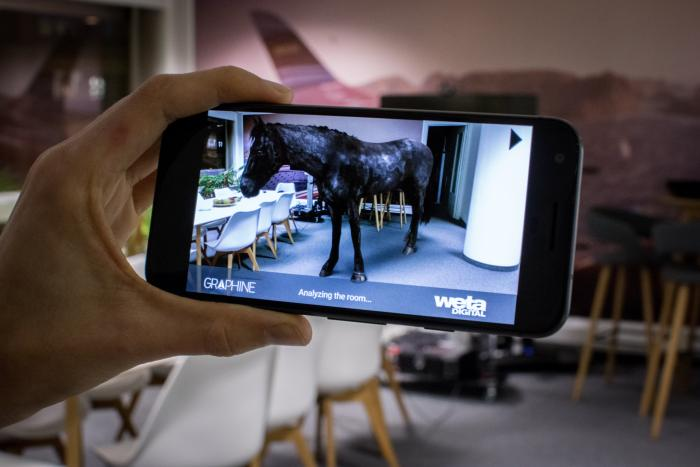 "Augmented Reality AR Demo ""AR Horse"" being shown on Google Pixel phone"